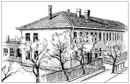 Az iskola épülete rézkarcon